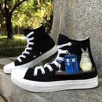 Wen Custom Design Hand Painted Black Shoes My Neighbor Totoro Anime High Top Men Women's Canvas Flats Sneakers Birthday Gifts
