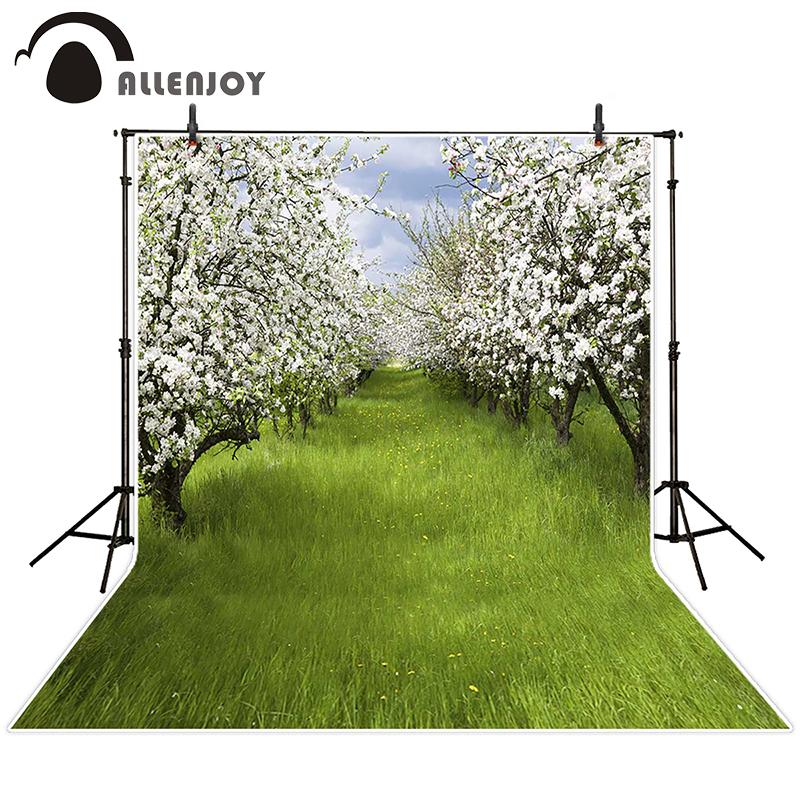 Prix pour Allenjoy photographique printemps fond Prairie fleurs disposées dans un arbre décors bébé garçon numérique d'été 10ft * 20ft
