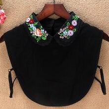 Faux collier en mousseline de soie noire pour femme, accessoire de printemps, amovible, avec fleurs brodées, Dickey