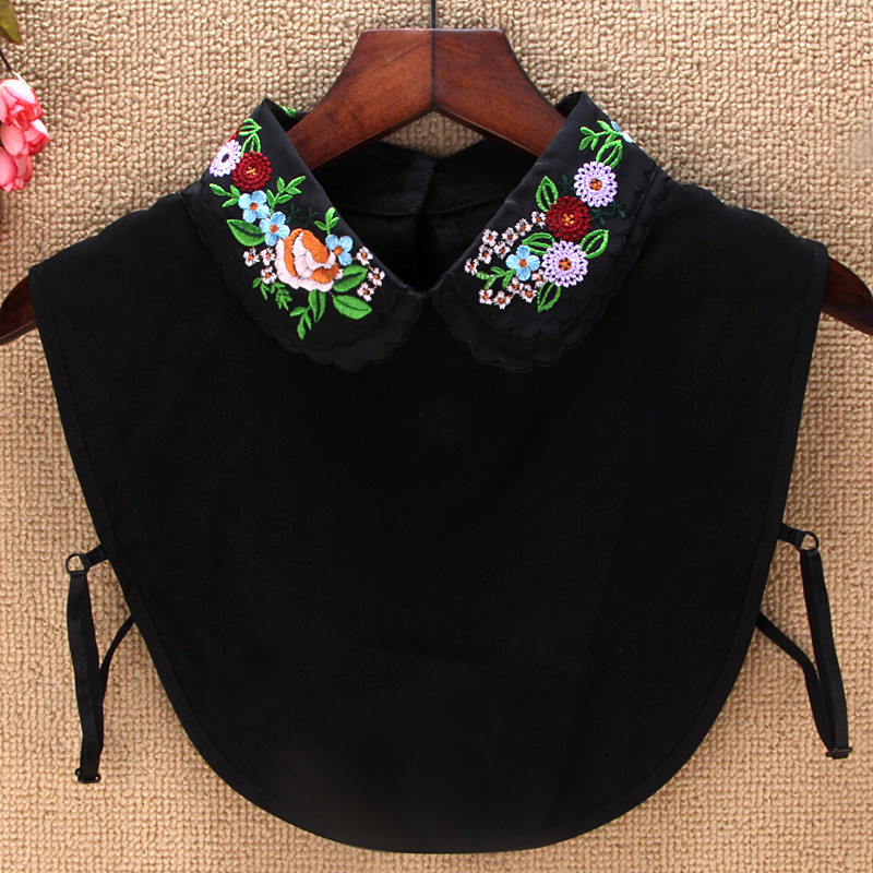 Vintage Fake Collar Women Black Cotton Removable Kraagjes Nep Dames Cols Ladies Dickey Flowers Embroidery Female Ties Accessory