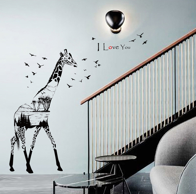 New Giraffe Silhouette Large Wall Stickers Birds Art Decals Home Decor Living  Room Bedroom Diy Removable Part 37