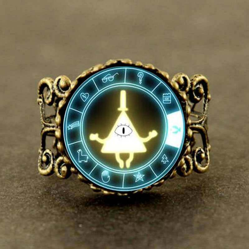 Able Steampunk Gravity Falls Mabel Pig Bill Cipher Wheel Friends Gift Men Ring 1pcs/lot Vintage Cosplay Charming 2017 Jewelry & Accessories