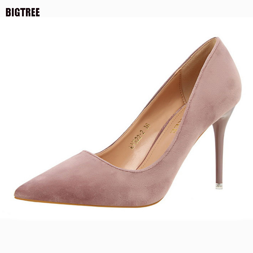 BIGTREE 2017 New Arrival Luxury Brand Shoes Women Shallow Slip on Flock Sexy Women Pumps Womens