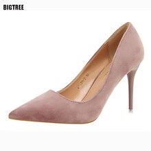 Bigtree 2017 recién llegado de marca de lujo zapatos zapatos slip-on flock shallow mujeres atractivas bombea zapatos de las mujeres talones 48txj