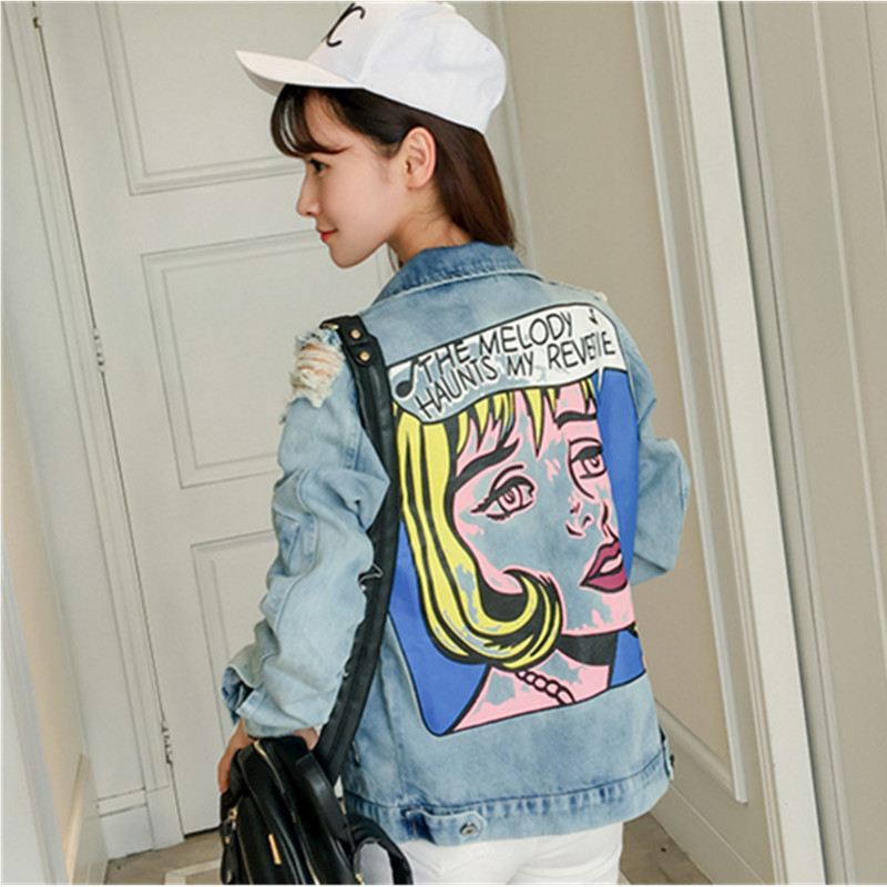 Jacket Tops Colored Printed Loose Denim Coat Ladies Graffiti BF Style Denim Jacket