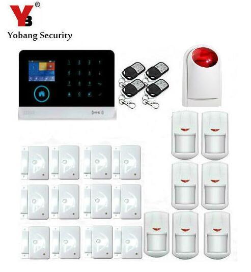 Yobang безопасности Android IOS APP WI-FI GSM GPRS Наборы блоков для сигнализации + 7 детектор движения + 12 двери/окно открытым Сенсор красная сирена, строб