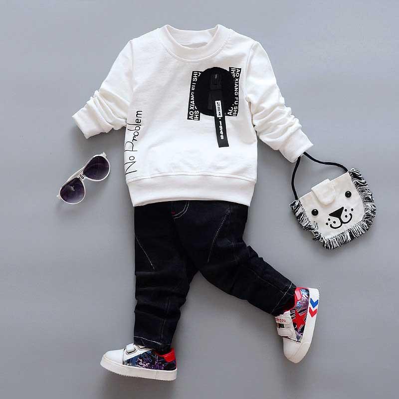Autumn spring Casual boys girls babys kid's sport long sleeve Letter sweatshirt +Denim Jeans pant 2pcs clothing set Y2507