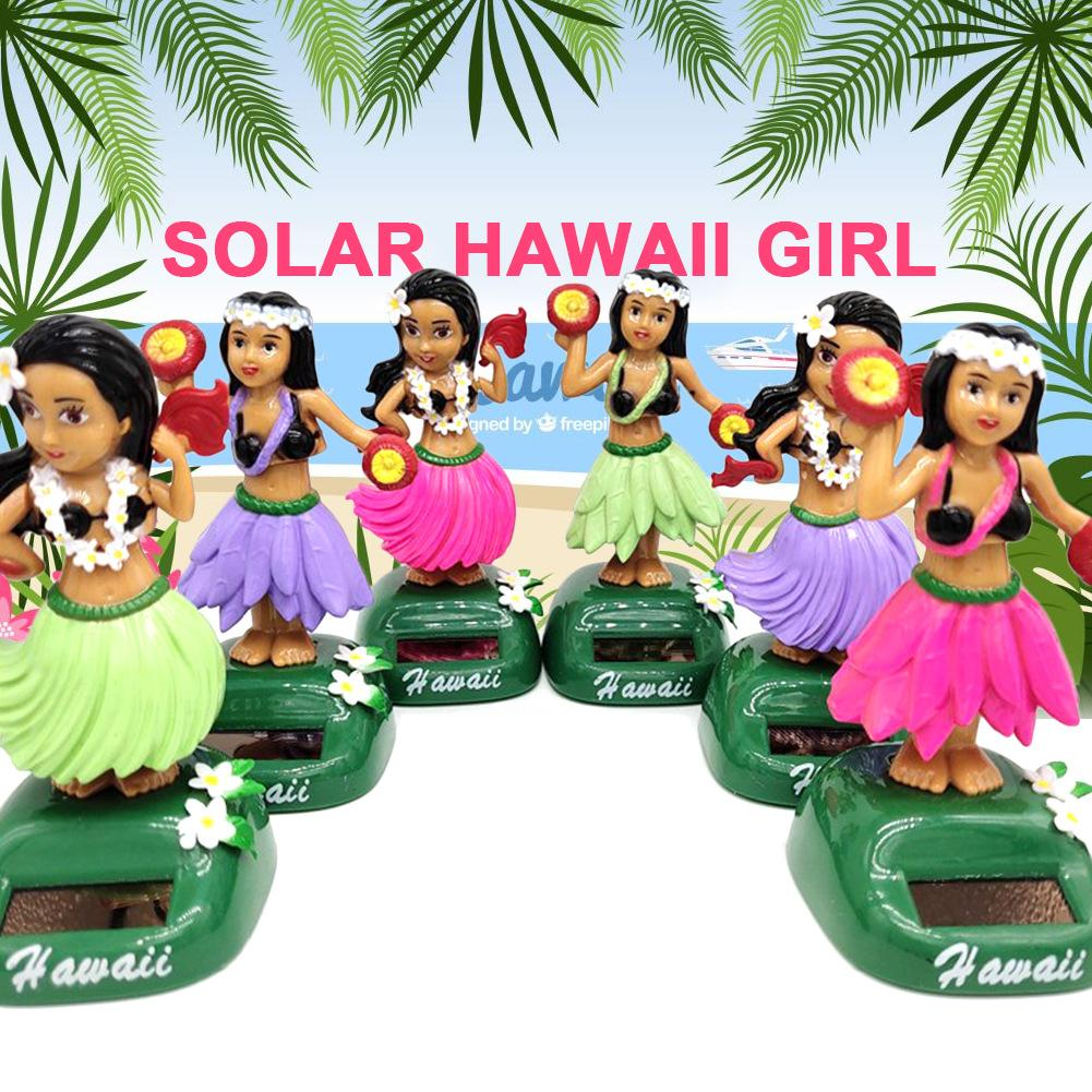 Solar Dancing Hawaii Girl Hula Shaking Head Toy Auto Interior Decompression Dashboard Decoration Car Ornaments Car Accessories