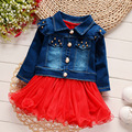 Baby Girls Set Denim Coat + Tutu Dress 2017 New Spring Autumn Jean Outerwear Tutu Dress Ball Dress 0-3Y Kids Children Clothes