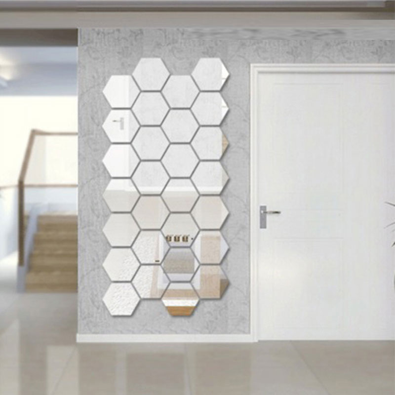 Three Dimensional Hexagonal 7 Piece Wall Decoration Acrylic Mirrored  Decorative Sticker Room Decoration DIY Wall Art ...