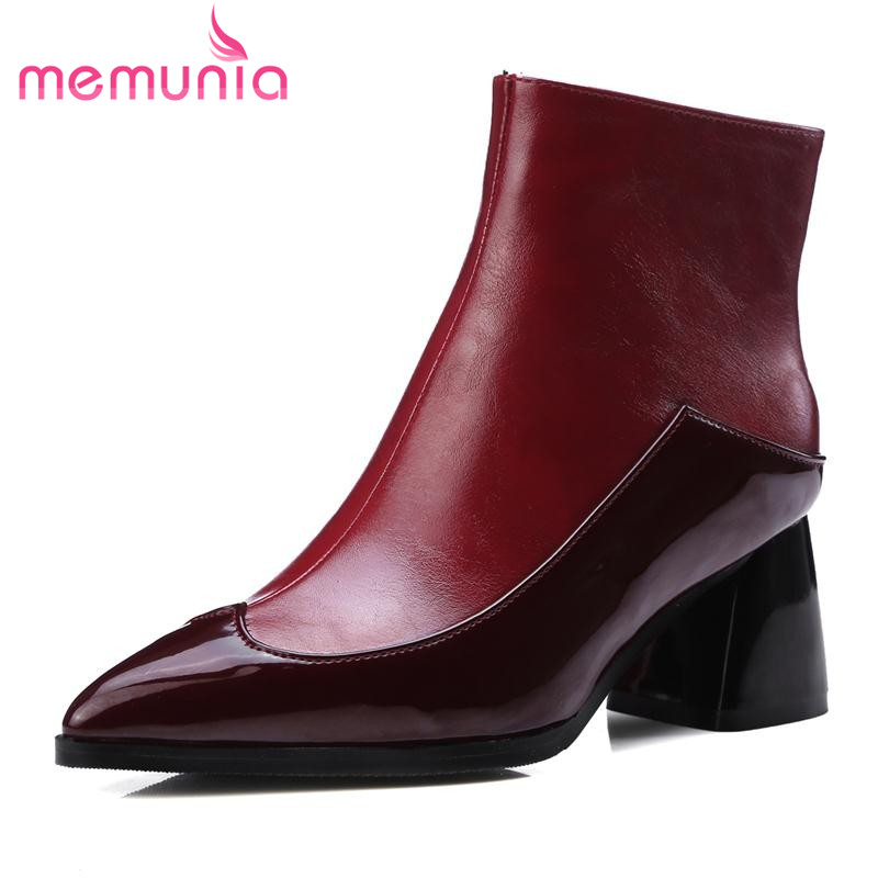 ФОТО MEMUNIA 2017 patent leather waterproof ankle boots in autumn pointed toe mixed colors big size fashion unique zipper women shoes