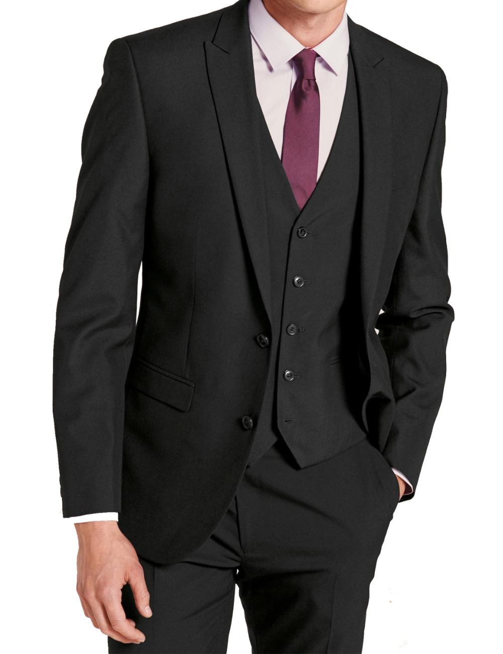 Mens 3 Piece 2 Button Flat Collar Skinny Black Suits For Big Event With Modern Designed Business New Arrival Men Suits