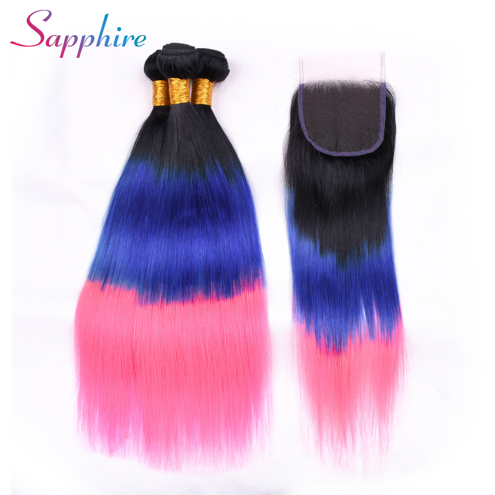 Sapphire Brazilian Hair Weave Bundles With Closure 3Pcs Straight Human Hair Bundles With Closure Ombre Color Remy Hair