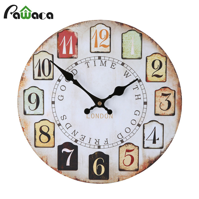 Wooden Vintage Wall Clocks For Decorative Living Room Colorful Pattern 12inch Clock Large Tuscan