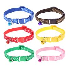 Pet Collar Adjustable Cute Cat Puppy Collars Dots Pattern Dog Pet Collar with Bell Accessories Dog Supplies Collars