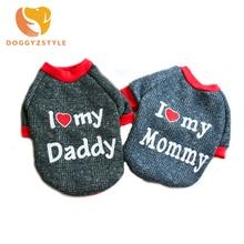 I Love My Daddy Mommy весна-осень, теплая одежда с милым щенком для собак, пальто для маленьких, свитер для собаки, чихуахуа, Тедди, DOGGYZSTYLE