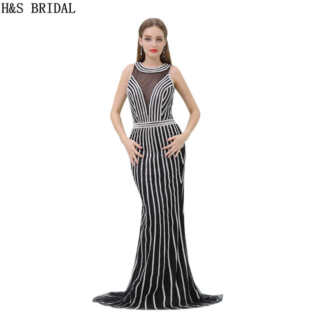 H&S BRIDAL Black Mermaid Evening Dress Sheer Neck casamento tulle ...