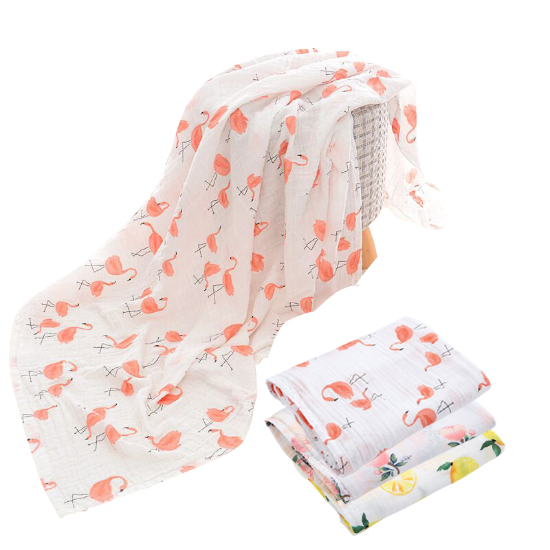 Cotton font b Baby b font Blanket Flamingo Soft Multi functional Muslin font b Baby b