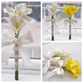 6pcs Calla Lily Flowers Bridal Wedding Bouquets Formal Bridesmaid Garden Church Beach Wedding Party White Yellow Wholesale Lace
