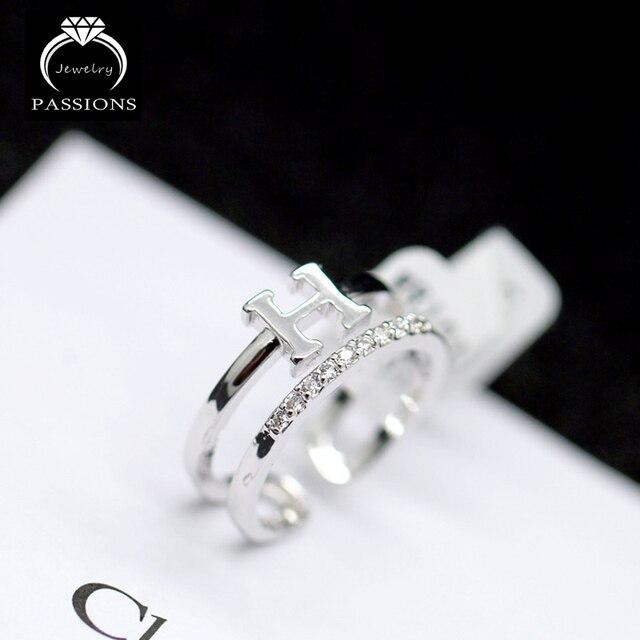 Nueva moda de la placa de plata H carta colgante abierta ajustable anillo  doble capas anillo e96178a60b4