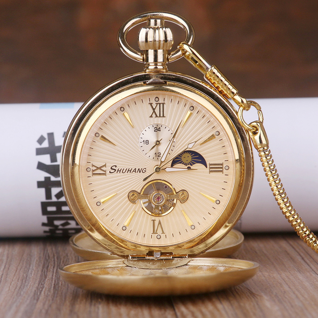 Luxury High Quality Golden Moon Phase Mechanical Pocket Watch Roman Number Tourb