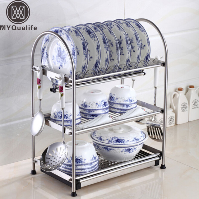 Desktop Stainless Steel Dish Rack Plates Drainer Drying For Dishes Kitchen Storage With Hooks
