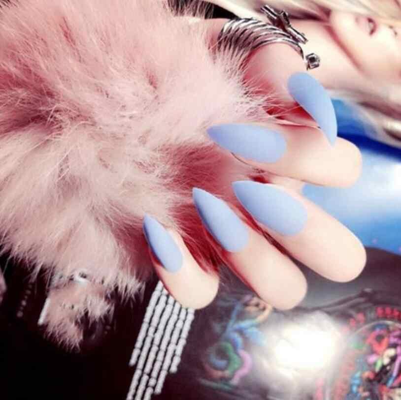24 ADET Stiletto takma tırnak Lüks Mat Tam Kapak Yanlış Nails Uzun Boy Sivri yapay tırnaklar Düz Renk Diy Nail Art İpuçları