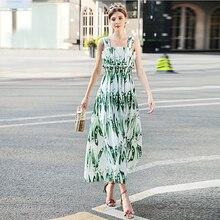 Milan Largo Vestido de Nuevo de Alta Calidad de Diseño de la Pista 2018 de La Moda de Primavera Mujeres Oficina Del Partido Niñas Guisante Imprimir Vestido Sin Mangas Del Chaleco