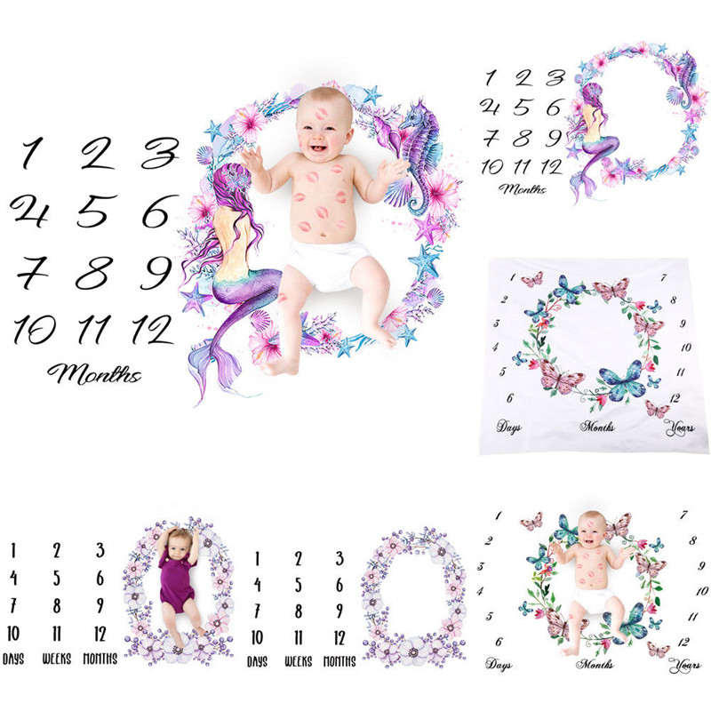 Newborn Baby Girls Boy Blanket Sheets Milestone For Birthday Photography Photo Props Shoots Cloth Accessories