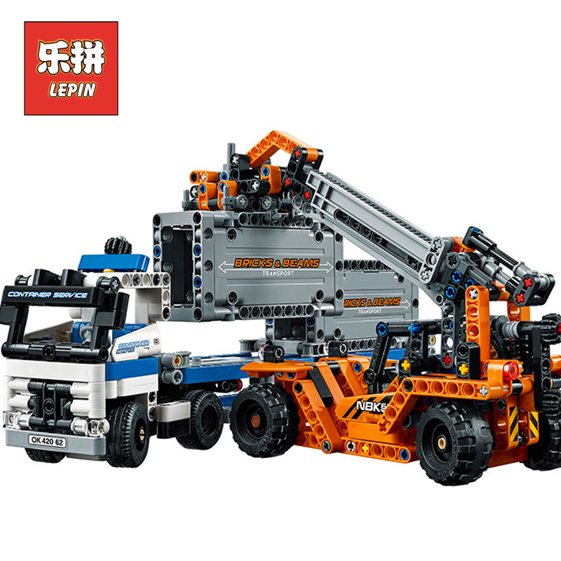Lepin 20035 Technic Series the Container Trucks and Loaders Set Model Building Kits Blocks Bricks Children Toy with Lepin lepin 20076 technic series the mack big