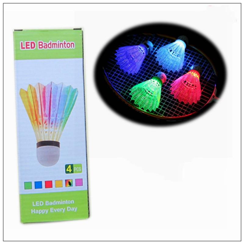 4 Pack LED Luminous Lights Illuminated Bright Badminton Night Entertainment Color 7 Color Flash Nylon Ball