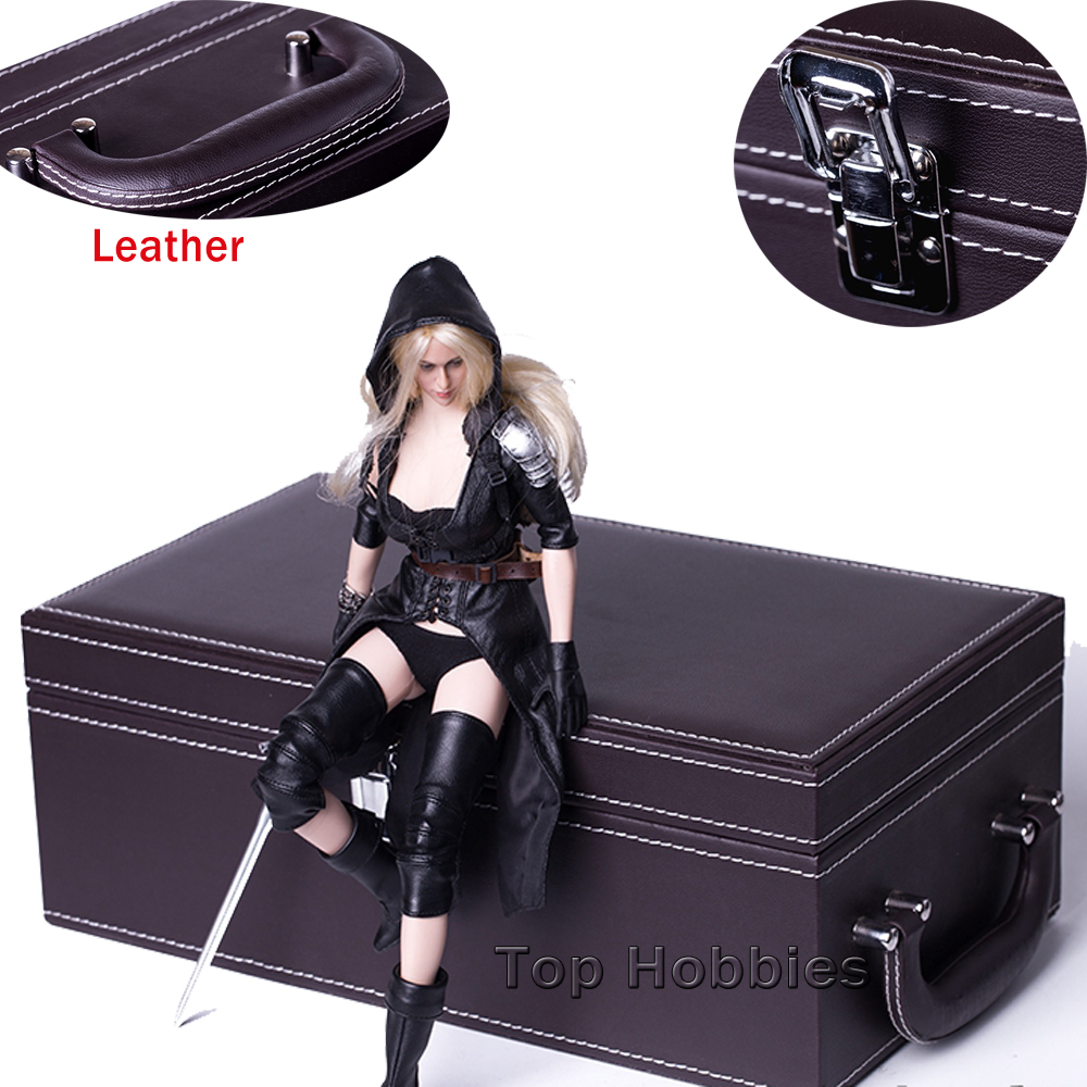 Brown 1/6 Scale Scene Props Storage Box Model Leather Handbag Outbox High Lifelike Fit 12 Inch Doll Phicen HT Toys Figure 1 6 scale scene annex mr z neapolitan mastiff 001 black dog collar set tabby animal model fit 12 inch action figure doll toys