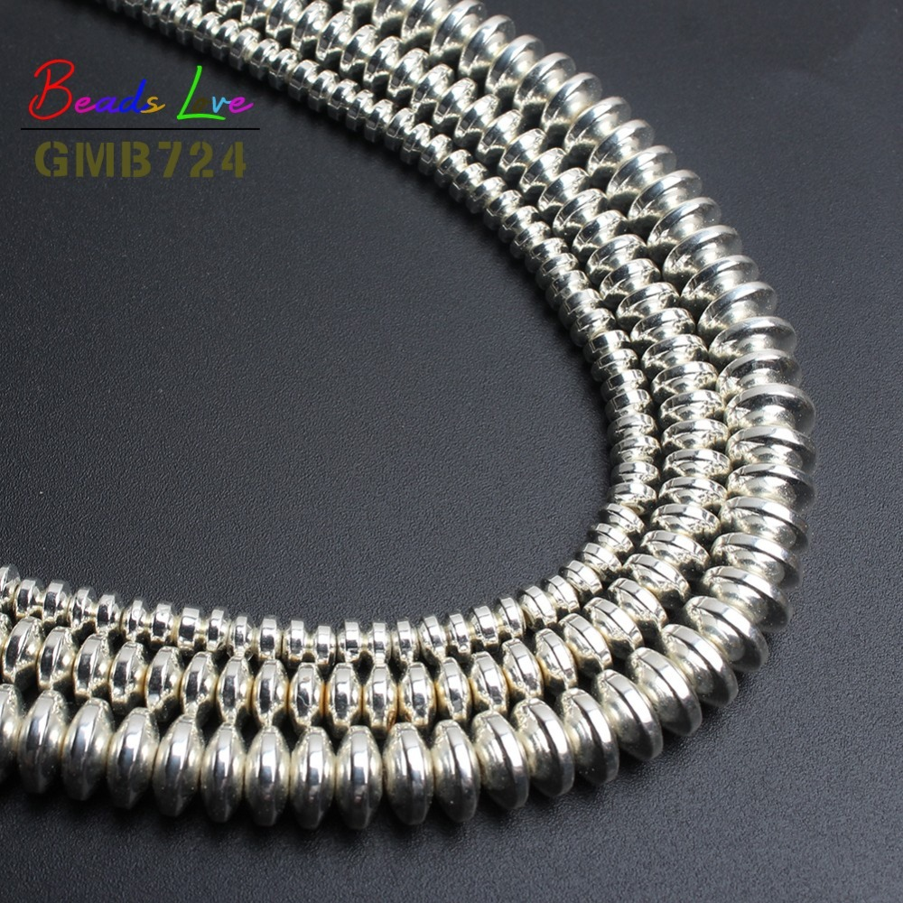 Silver Rondell Hematite Beads For Jewelry Making Natural Stone beads Spacer Beads Diy Bracelet Jewellery 4mm 6mm 8mm-(F01140)