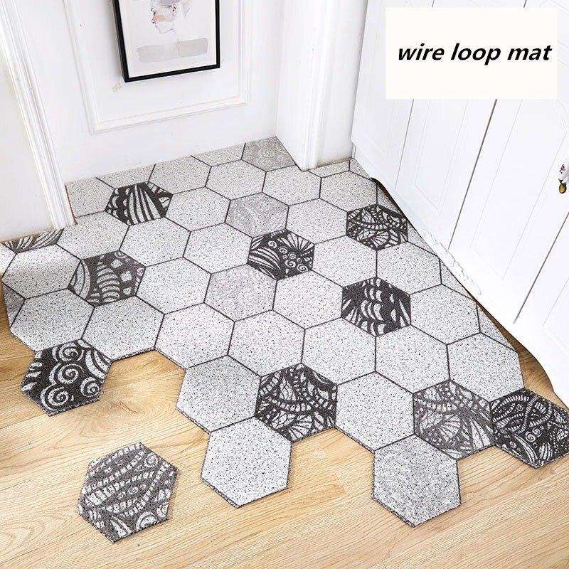 Nordic INS Hexagonal Geometry Entrance Hall Carpet PVC Wire Loop Mat INS Door Mat Living Room Floor Mat Bathroom Non-slip Rug