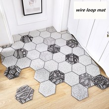 Nordic INS Hexagonal geometry Entrance hall carpet PVC wire loop mat Door Living room floor bathroom non-slip rug
