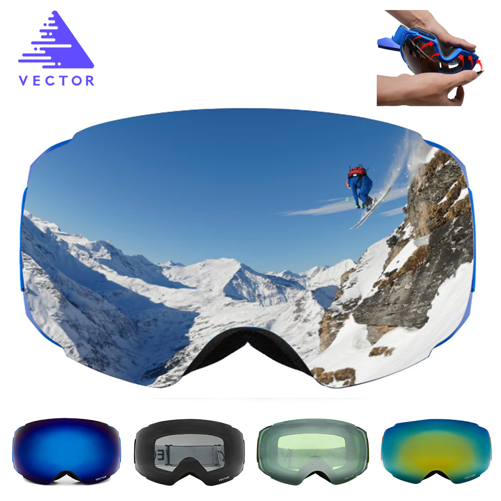 VECTOR New Brand Ski Goggles Double UV400 Anti-fog Big Ski Mask Glasses Skiing Professional Men Women Snow Snowboard Goggles polisi winter snowboard snow goggles men women double layer large spheral lens skiing glasses uv400 ski skateboard eyewear