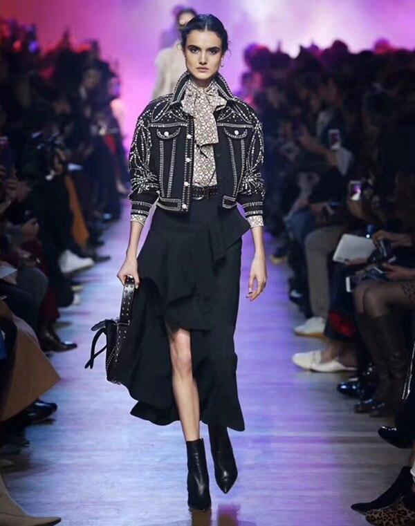 Noir Court Femmes fin Automne Longues Vintage Poitrine Manches Manteau Feminina Haute Jaket Unique 2019 Diamants Printemps Jaqueta À Zt1xwq