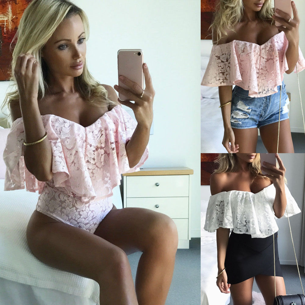 New Fashion Women Jumpsuit Romper Short Ruffled Off Shoulder Lace Bodycon Bodysuit Tops