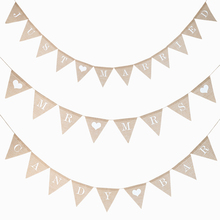 Personalize Party Flag Letter A-Z Diy Jute Burlap Bunting Banner Flags Candy Bar Wedding Decoration Baby Shower Favor
