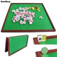 Portable Mini Folding Mahjong Poker Table Traditional Game Travel Wood Flannelette Mahjong Table With High Quality