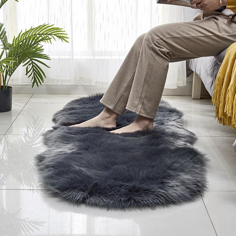 Tapis solides modernes tapis en peluche ovale tapis en fausse fourrure tapis doux gris pour chambre salon tapis de bain tapis de zone 60x180cm alfombras