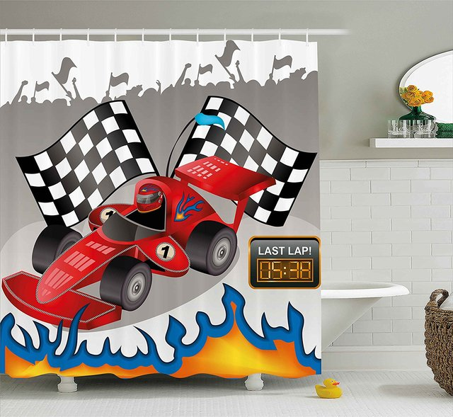 Kids Decor Shower Curtain Race Car With Finish Line Flags Pilot And Flames Abstract Gray