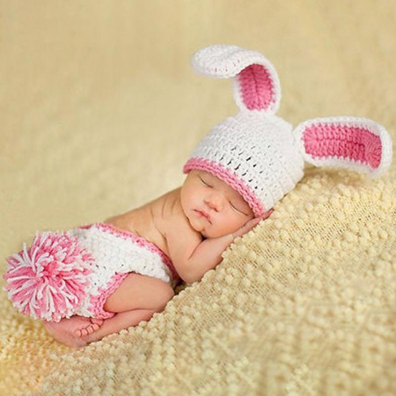 <font><b>Autumn</b></font> Winter Hot Sale <font><b>Newborn</b></font> <font><b>BaBy</b></font> Boys <font><b>Girls</b></font> Fashion Rabbit Long Ears Hat+briefs Outfits <font><b>Clothes</b></font> Photography Props Set image