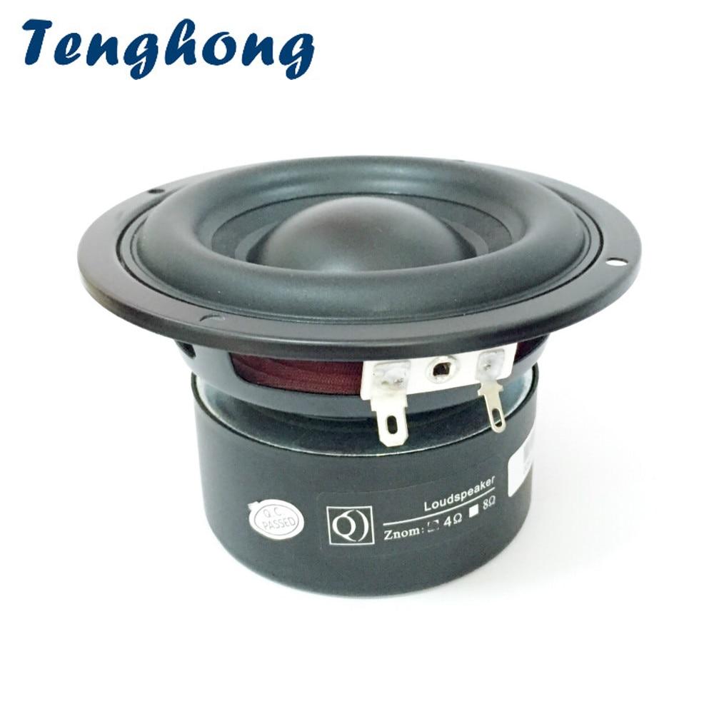 Tenghong 1 шт. 4 дюймовый сабвуфер 4/8 Ом 40 Вт портативные аудио колонки средние басы мультимедийные громкоговорители домашний кинотеатр Сабвуферы      АлиЭкспресс