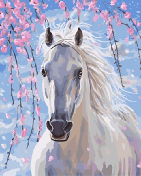 DRAWJOY Incorniciato Foto Pittura di DIY Dai Numeri Di Cavalli Animali Pittura A Olio Home Decor Pittura e Calligrafia 40*50 cm GX8528