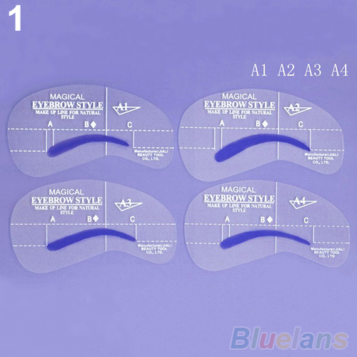 2 Sets Grooming Stencil Kit Make Up Shaping DIY Beauty Eyebrow Template Tools 2