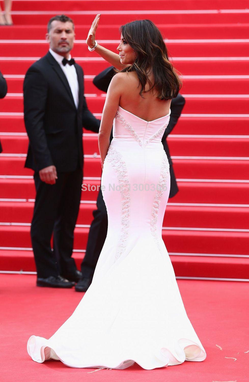 Eva Longoria 2015 la nueva moda rebordeó Crystal Plears blanco Prom ...
