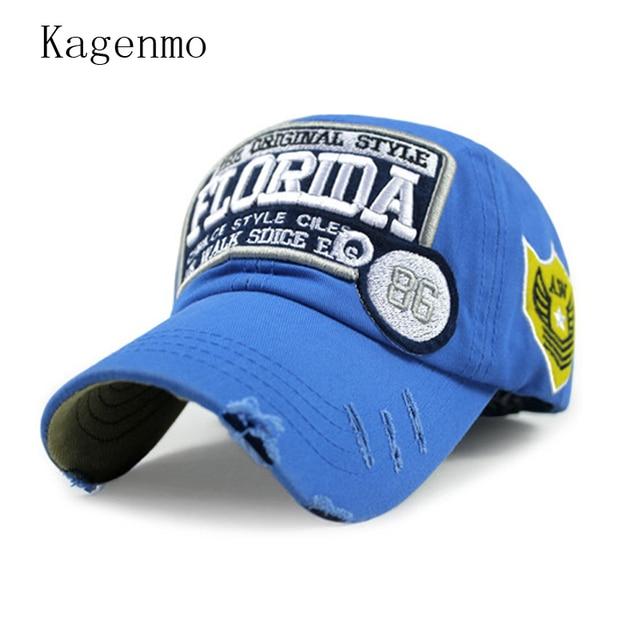 8fa3a40fbaf Kagenmo Florida cloth embroidery baseball cap autumn sunhat fall cool sun  protection hat 6color 1pcs
