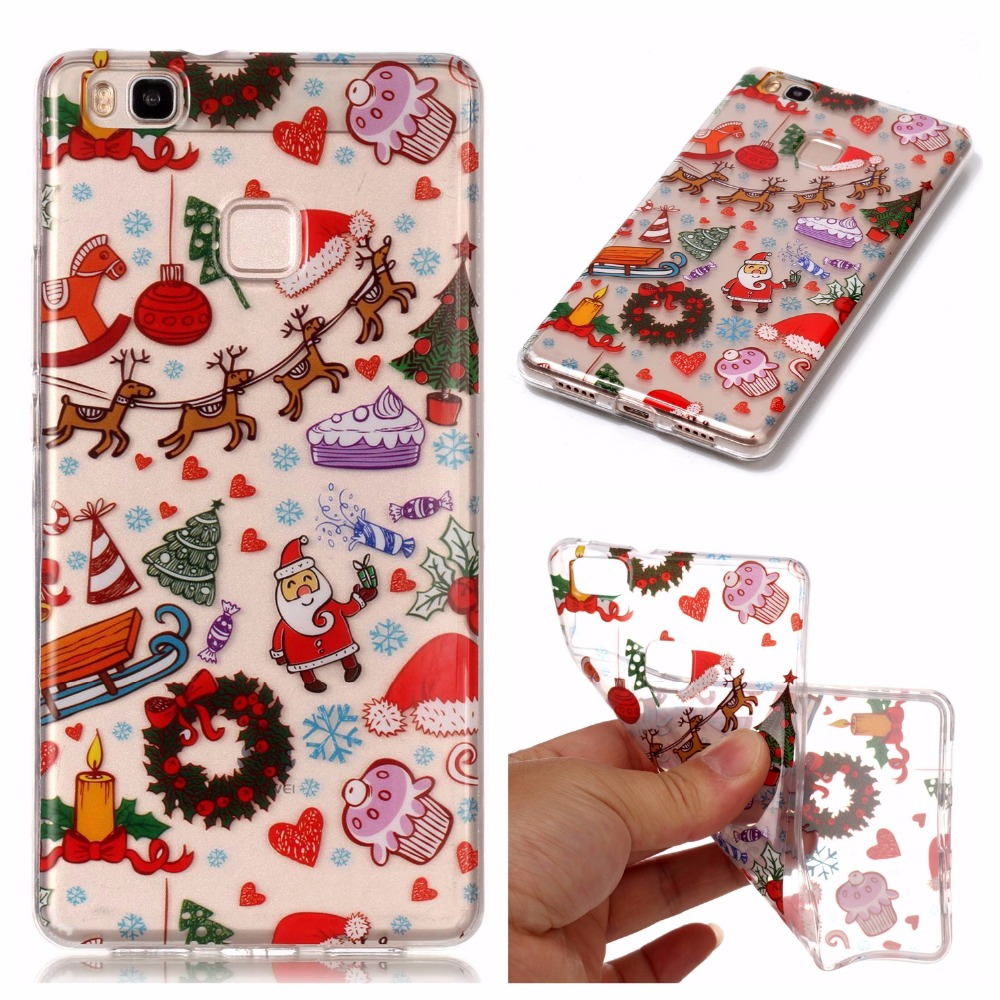 Happy New Year Merry Christmas For Huawei P9 Lite Case Cover Soft Silicone TPU Cover Back Protective For P8 P10 Lite Case