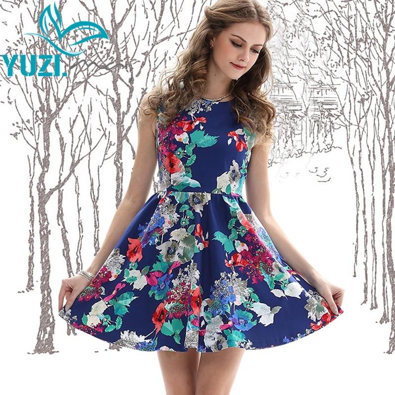 99dc160631e88 Summer Women Dress 2017 Yuzi.may Boho New Cotton Vestidos O-Neck Sleeveless  Floral Print High Waist ...